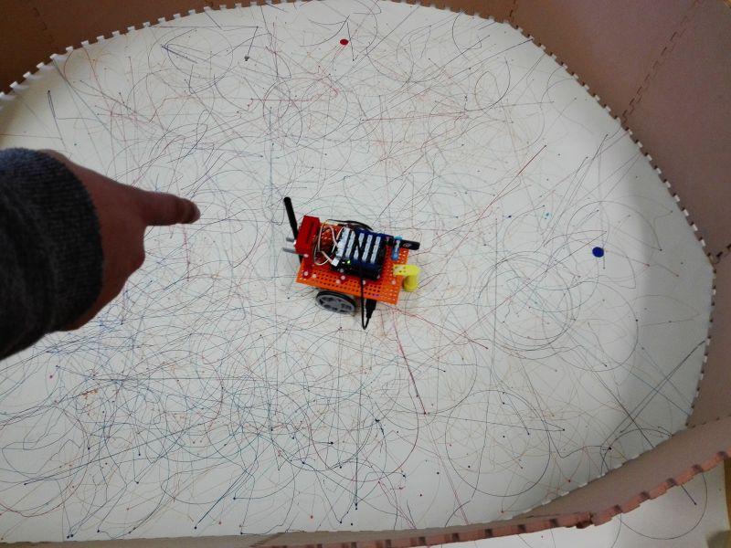 Primeiros testes dos alunos com o robot pintor.